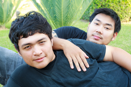 Two Lover Gay Asian Boy Lying On Grass