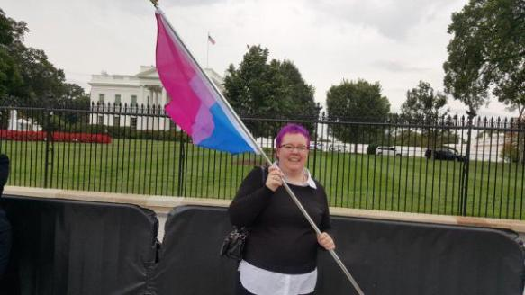Aud Traher at Bisexual Week Rally at White House